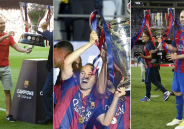 Andres Iniesta Barcelona with trophy, Andres Iniesta Barcelona, Andres Iniesta, Barcelona, la liga, liga spanyol, most spinard Trophy